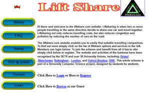 Liftshare, primera versión